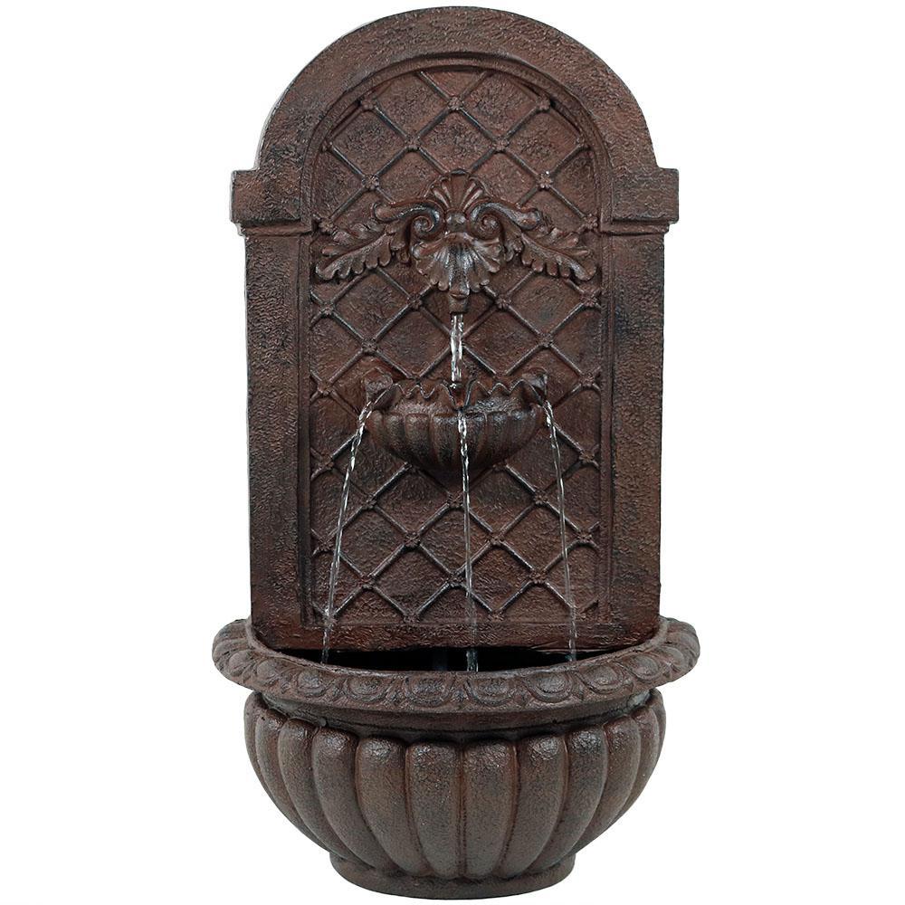 Sunnydaze Venetian Solar Powered Wall Fountain - Weathered Iron Finish