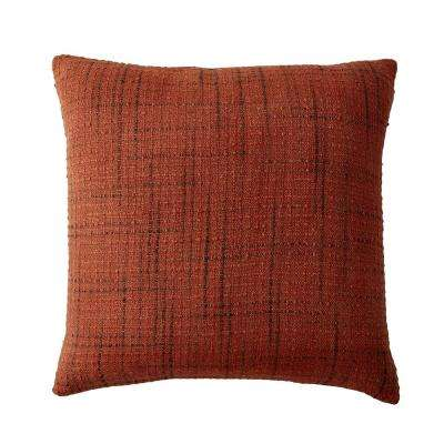 Embroidered Decorative Pillow Cover in Multi Embroidered Squares, 20 in. x 20 in.