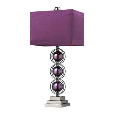 Alva Contemporary 27 in. Black Nickel and Purple Table Lamp