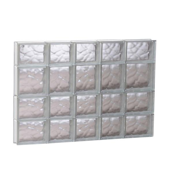 32.75 in. x 25 in. x 3.125 in. Frameless Wave Pattern Non-Vented Glass Block Window