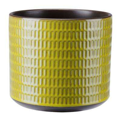 Cylinder 8.8 in. W x 7.7 in. H Olive Green Ceramic Planter