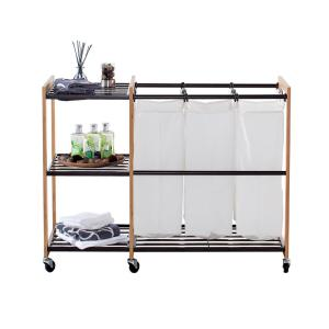Trinity Ecostorage Wheeled 3 Bag Bamboo Laundry Station In