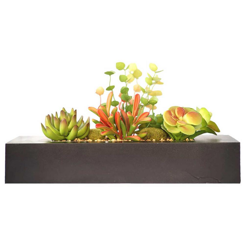 8 in. Tall Succulents Artificial Indoor/ Outdoor Faux Dcor in Wooden
