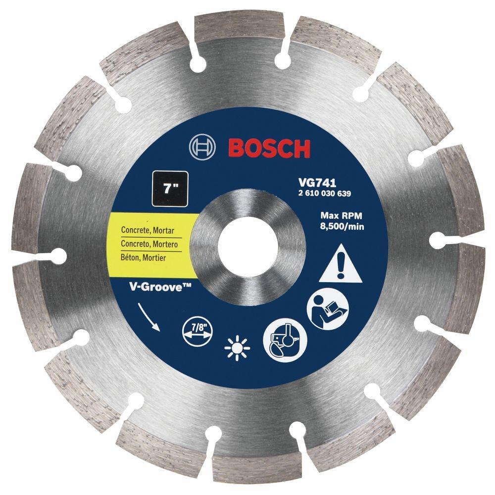 7 in. Segmented Rim V-Groove Diamond Blade for Universal Rough Cuts