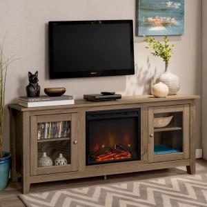 Walker Edison Furniture Company 58 In Wood Media Driftwood Tv Stand Console With Fireplace Hd58fp4dwag The Home Depot