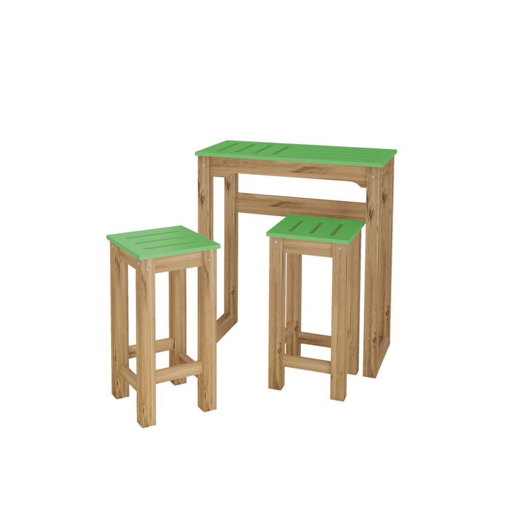 Stillwell 31.5 in. 3-Piece Green and Natural Wood Bar Kitchen Set
