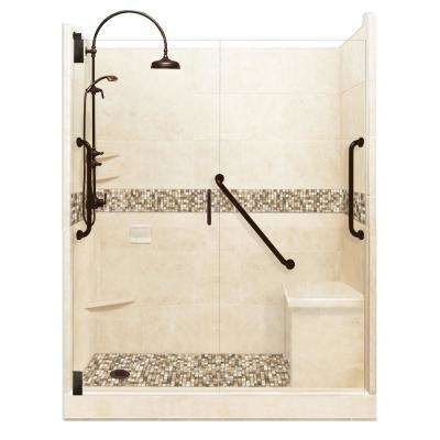 Roma Freedom Luxe Hinged 34 in. x 60 in. x 80 in. Left Drain Alcove Shower Kit in Desert Sand and Old Bronze Hardware
