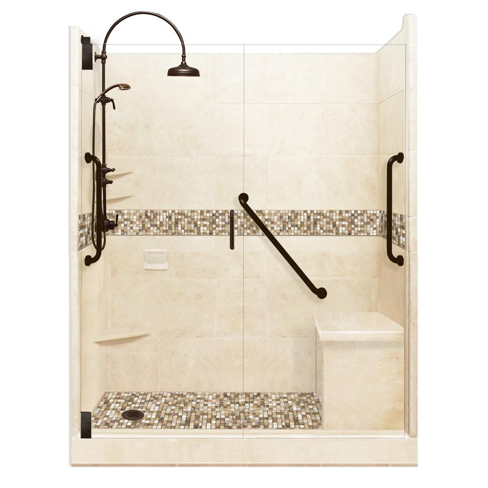 American Bath Factory Roma Freedom Luxe Hinged 42 in. x 60 in. x 80 in. Left Drain Alcove Shower Kit in Desert Sand and Old Bronze Hardware