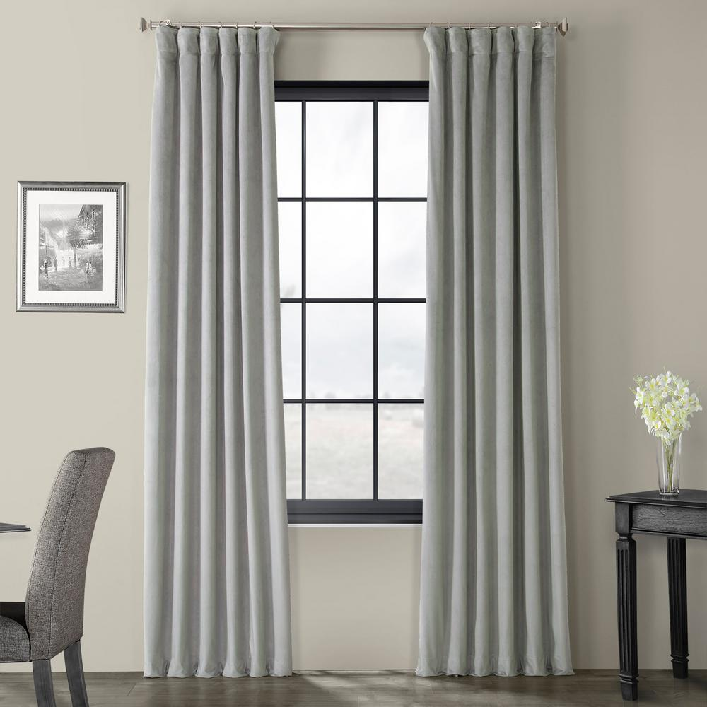 Exclusive Fabrics & Furnishings Blackout Signature Silver Grey Blackout Velvet Curtain - 50 in. W x 120 in. L (1 Panel)