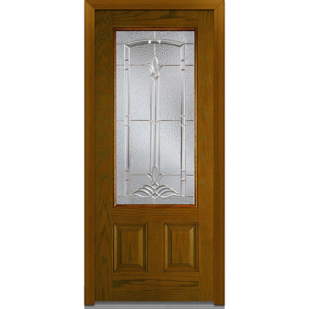 MMI Door 36 in. x 80 in. Bristol Left-Hand 3/4 Lite 2-Panel Classic Stained Fiberglass Oak Prehung Front Door-Z001142L - The Home Depot  sc 1 st  The Home Depot & MMI Door 36 in. x 80 in. Bristol Left-Hand 3/4 Lite 2-Panel ... pezcame.com