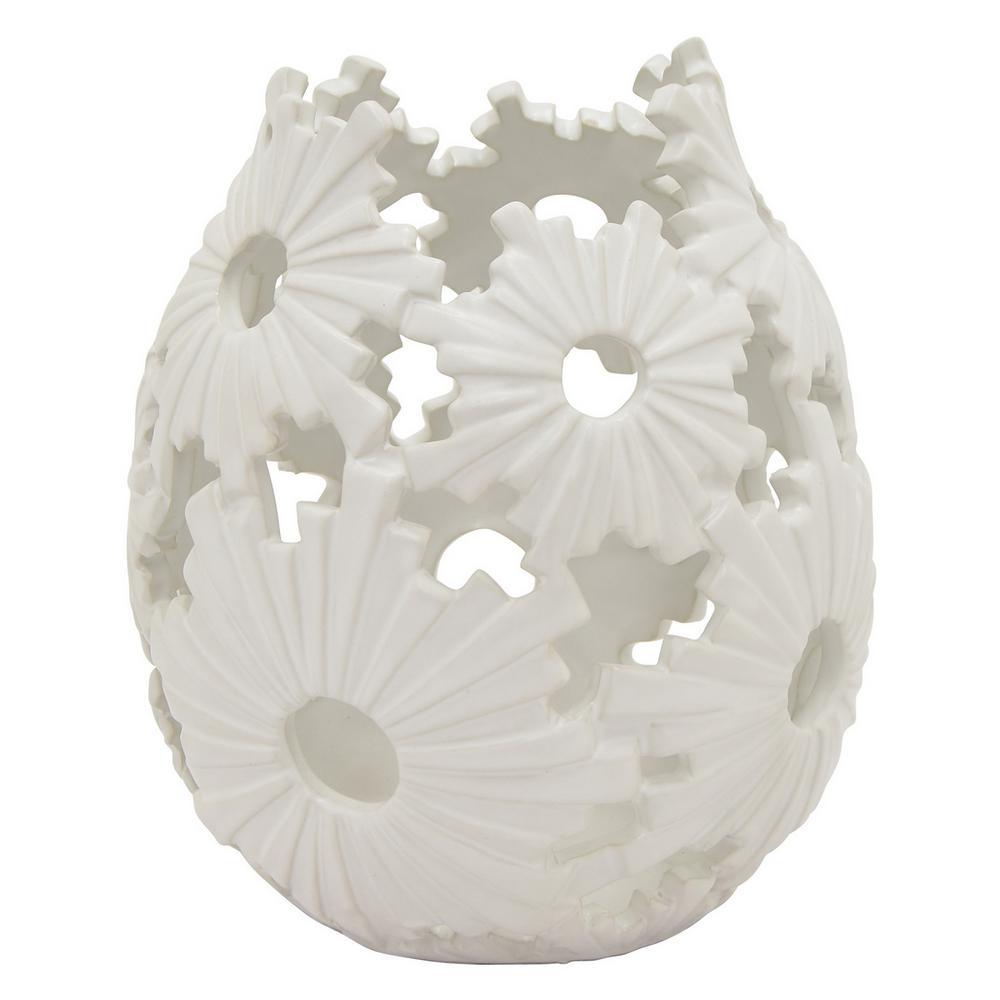 8.25 in. Porcelain-Ceramic Ceramic Vase Finished in White
