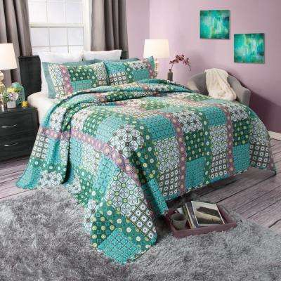 Tala Green Cotton Twin Quilt