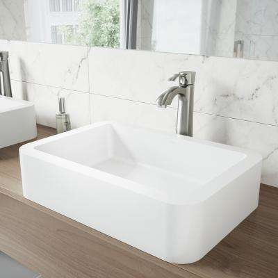 Petunia Matte Stone Vessel Bathroom Sink in White with Otis Bathroom Vessel Faucet in Brushed Nickel