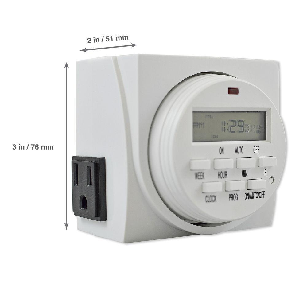 Aspectek Digital Program Timer With 7 Day Programming And 2 Grounded Outlets