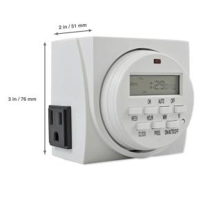 Aspectek Digital Program Timer with 7-Day Programming and 2 Grounded Outlets by Aspectek