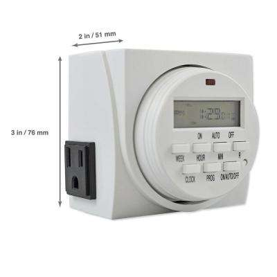 Digital Program Timer with 7-Day Programming and 2 Grounded Outlets