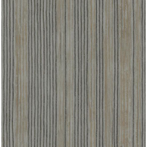 Seabrook Designs Newbury Metallic Pewter and Charcoal Striped Wallpaper LD80407