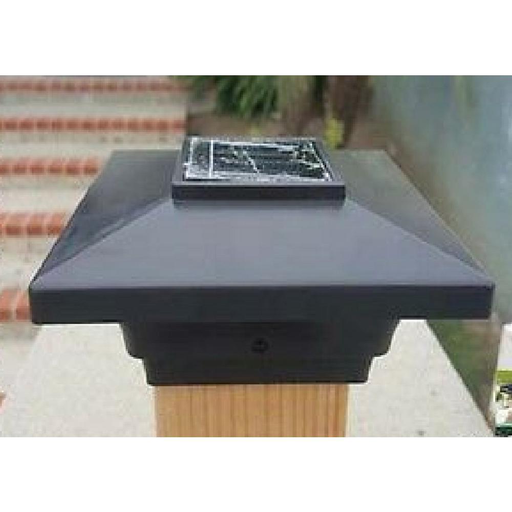 PL251B-4 Relightable Solar 4 in. x 4 in. Black Vinyl Outdoor Low Profile Post Cap Deck Lights (4-Pack)