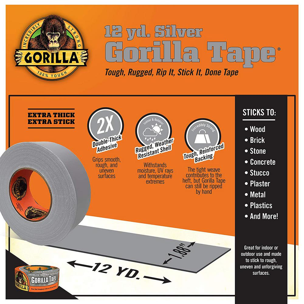 Gorilla Tough /& Wide Silver Duct Tape - New Silver, Pack of 1 2.88 x 30 yd