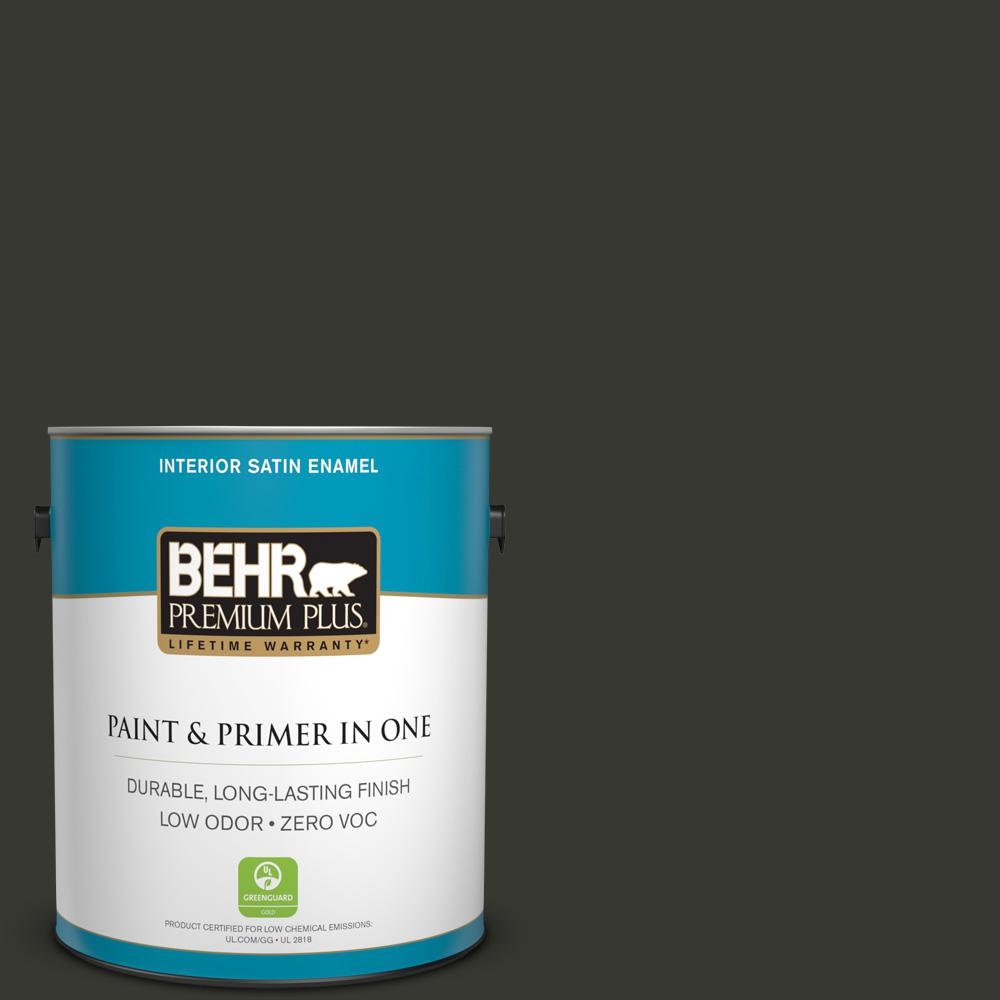 BEHR Premium Plus 1-gal. #N520-7 Carbon Satin Enamel Interior Paint
