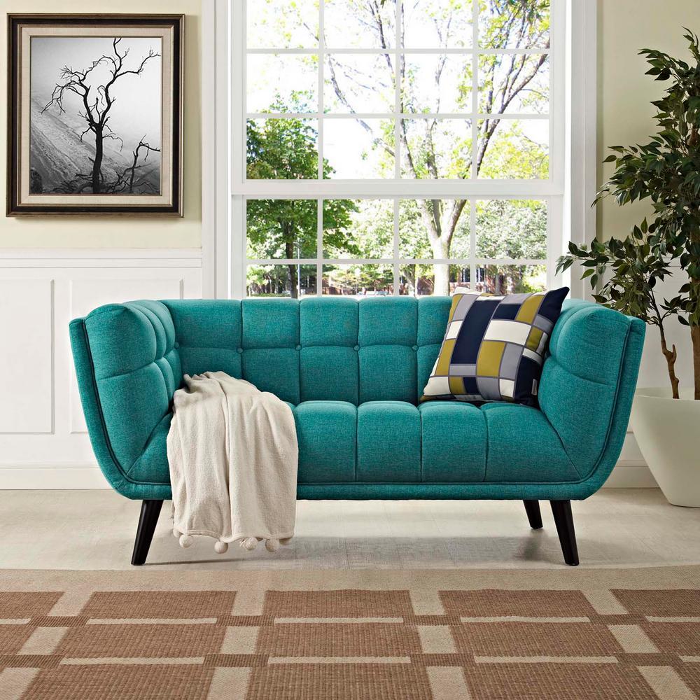 MODWAY Bestow Teal Upholstered Fabric Loveseat EEI-2534-TEA