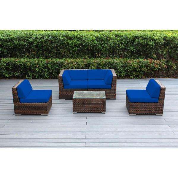 Ohana Mixed Brown 5-Piece Wicker Patio Seating Set with Sunbrella Pacific Blue Cushions