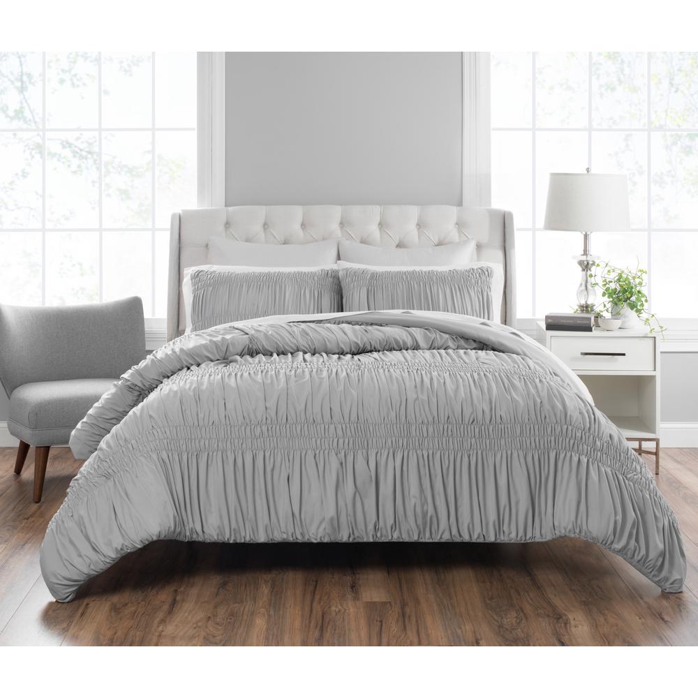 Francesca 3-Piece Technique Gray Queen Comforter Set