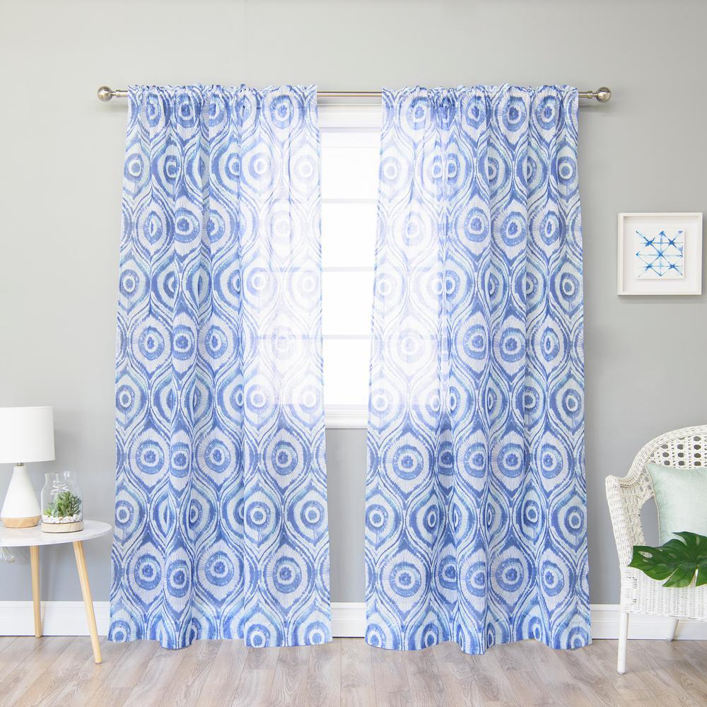 Blue Sun Burst Shibori Rod Pocket Curtain 52 In W X 84