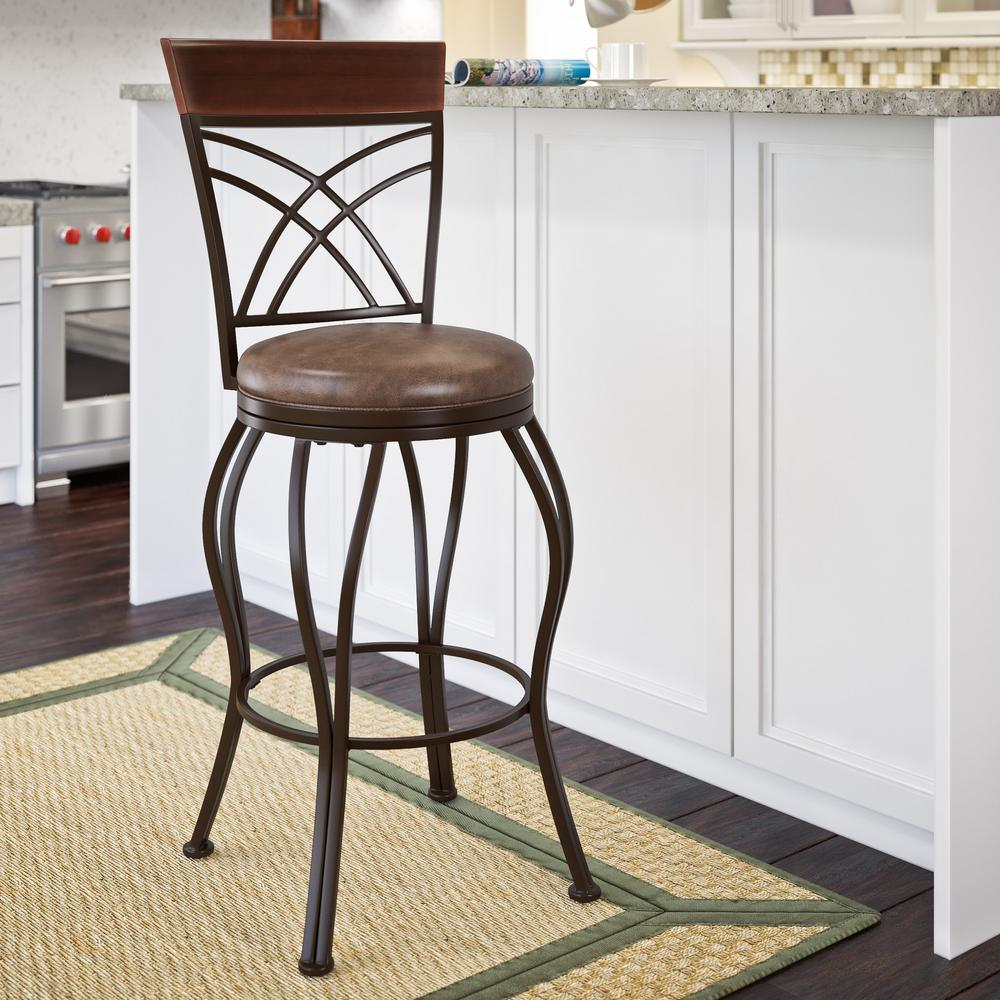 Corliving Jericho 30 In Metal Bar Stool With Swivel Rustic Brown