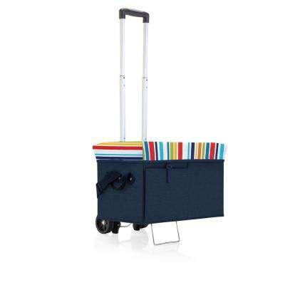 18 Qt. Navy Ottoman Cooler and Seat with Trolley