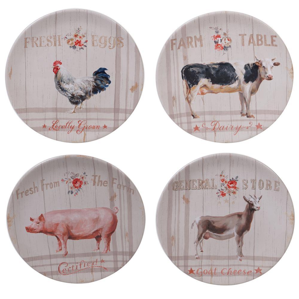 Farmhouse 4-Piece Country/Cottage Multi-Colored Ceramic 9 in. Dessert Set (Service for 4)