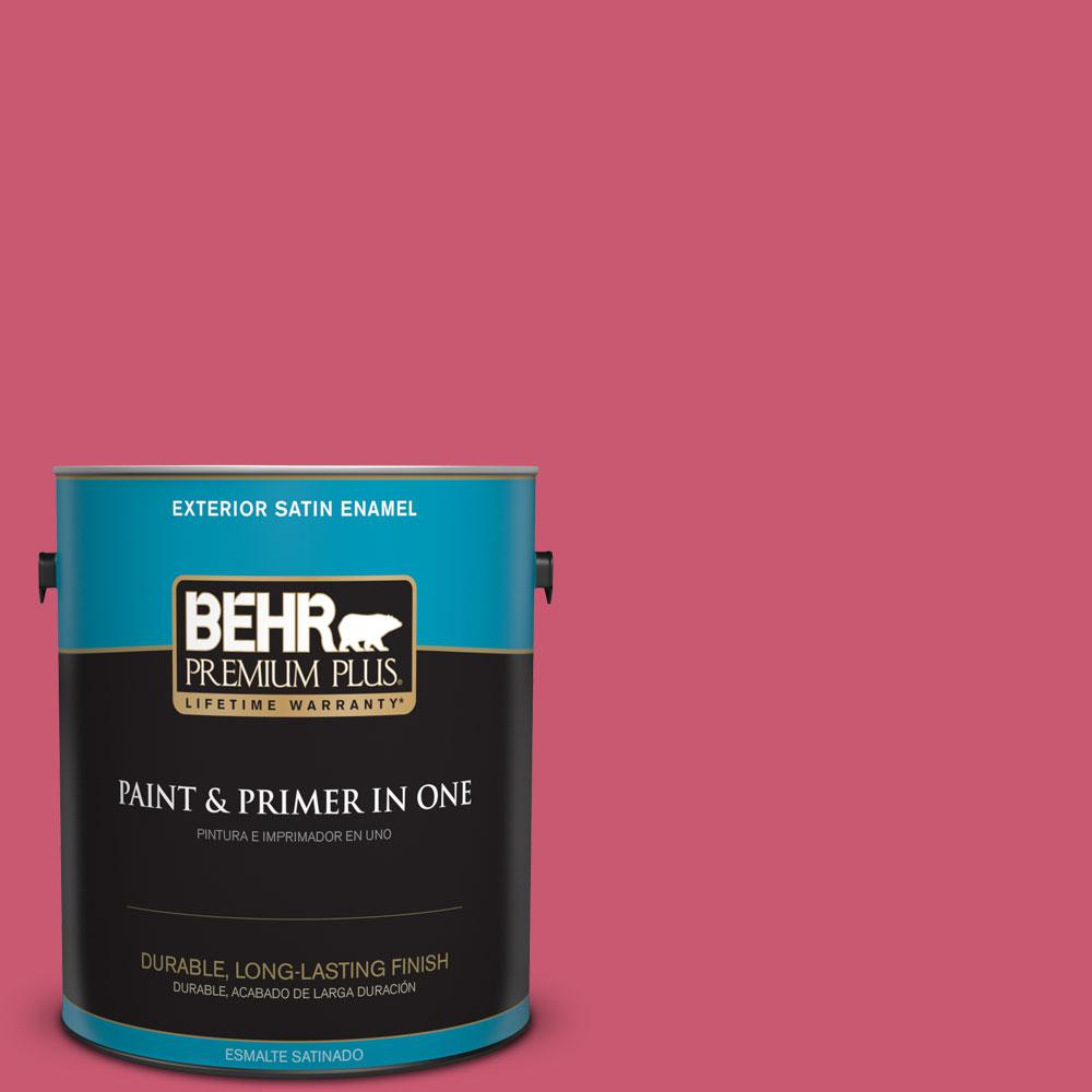 BEHR Premium Plus 1-gal. #T11-15 Pinkelicious Satin Enamel Exterior Paint