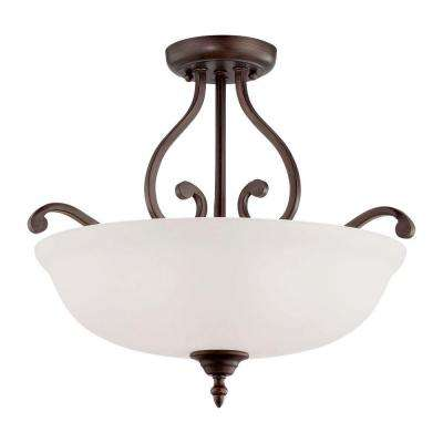 3-Light Rubbed Bronze Semi-Flush Mount Light with Etched White Glass
