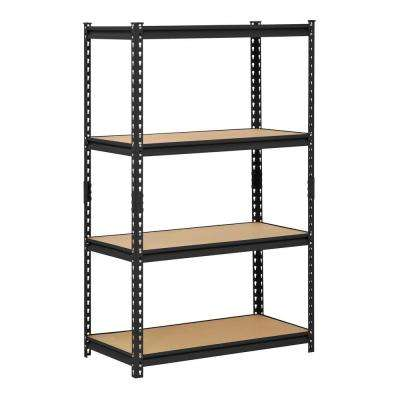 60 in. H x 36 in. W x 18 in. D 4-Shelf Steel Shelving Unit in Black