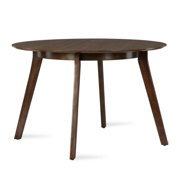 Wood Round Table.Henley Walnut Mid Century Round Dining Table