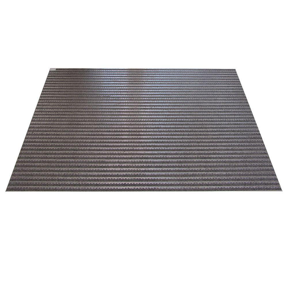 Novomat Aluminum and Grey 35.6 in. x 47.3 in. Textile Carpet Door Mat Entrance Wells Kit