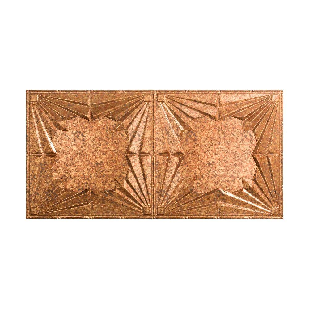 Fasade Art Deco - 2 ft. x 4 ft. Glue-up Ceiling Tile in Cracked Copper