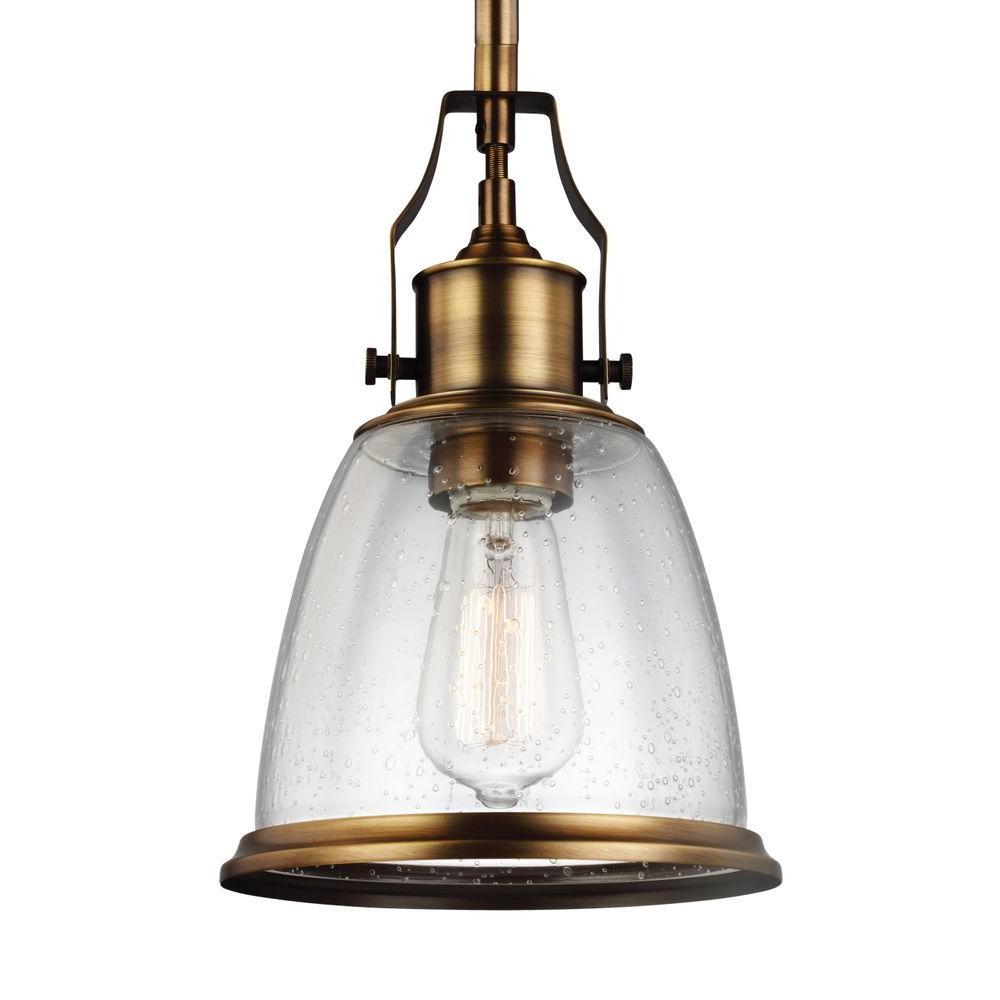 Chateau Pedestal Lantern Nickel: Feiss Hobson 1-Light Aged Brass Mini Pendant-P1354AGB
