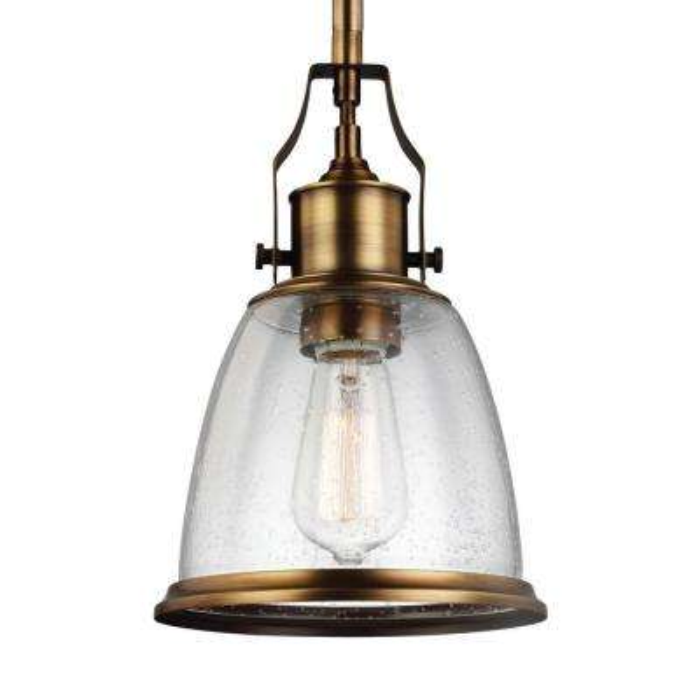 Hobson 1-Light Aged Brass Mini Pendant