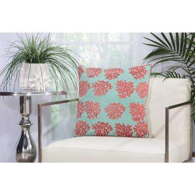 Corals 18 in. x 18 in. Aqua and Coral Indoor and Outdoor Pillow