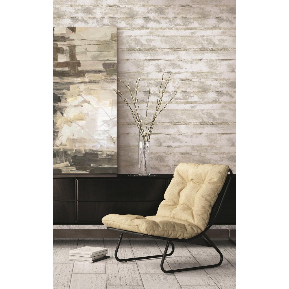 Otis Metallic Gold and Gray Horizontal Stone Wallpaper