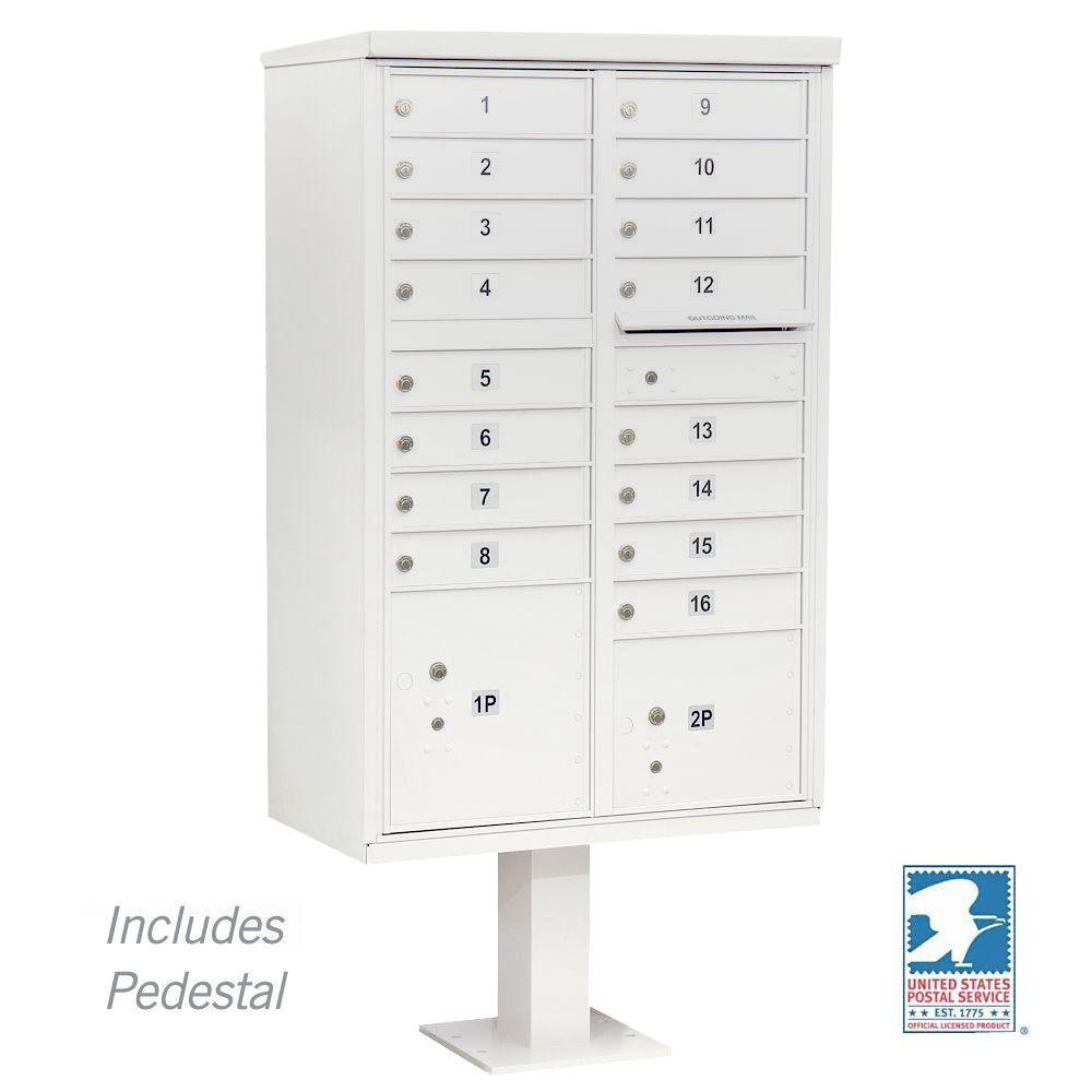 White Usps Access Cluster Box Unit with 16 A Size Doors and Pedestal, Whites