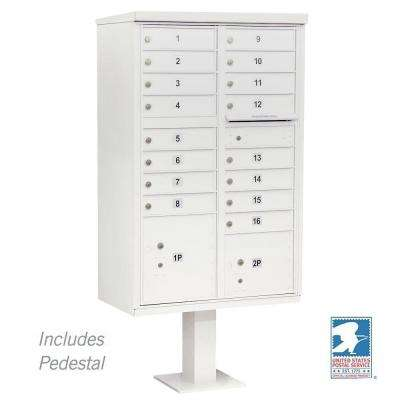 White USPS Access Cluster Box Unit with 16 A Size Doors and Pedestal