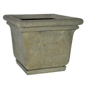 MPG 24 inch Square Aged Granite Cast Stone Planter with Attached Saucer by MPG