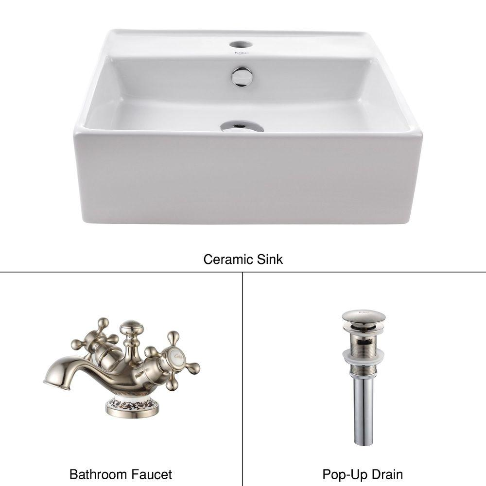 KRAUS Square Ceramic Sink in White with Apollo Basin Faucet in Brushed Nickel-DISCONTINUED