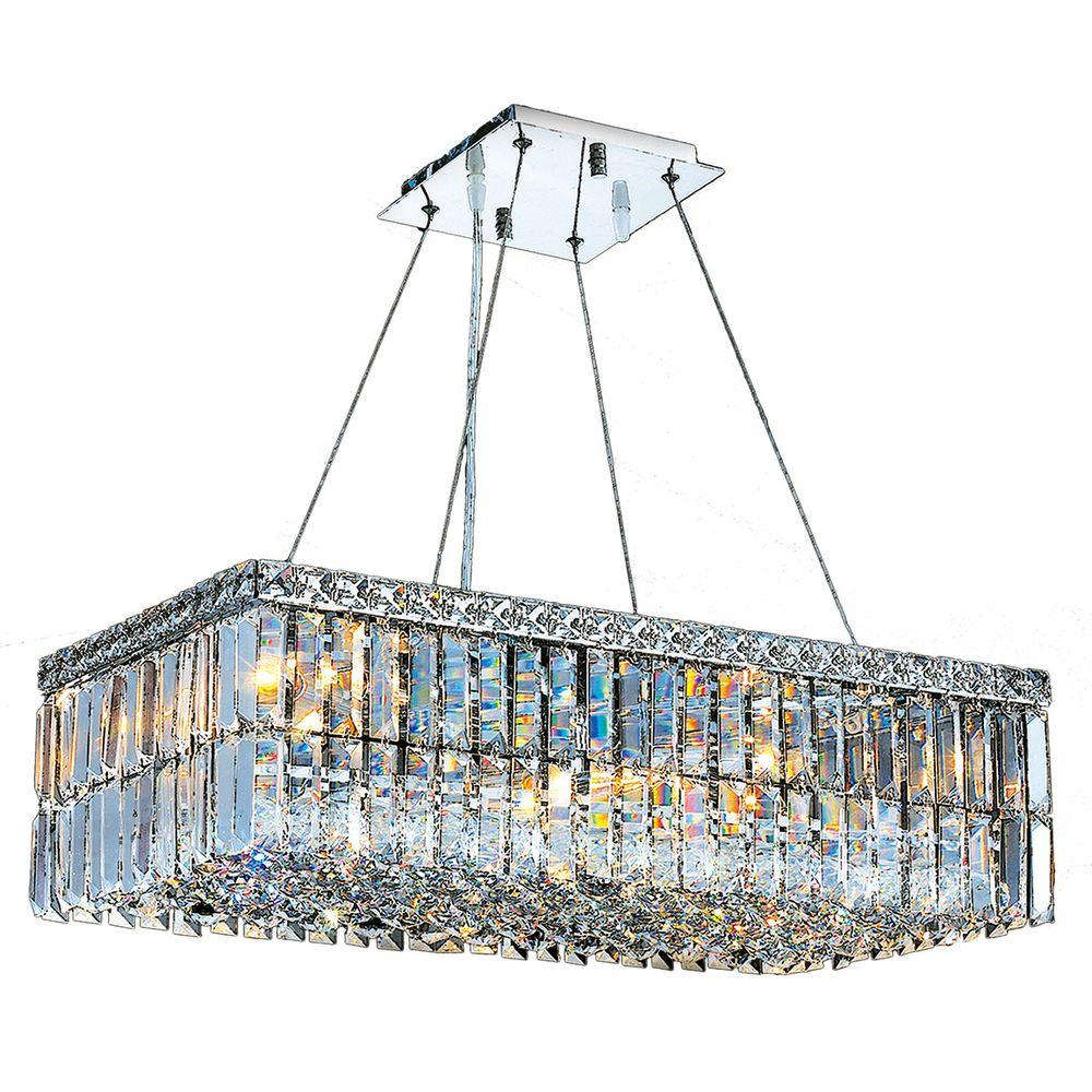 Cascade Collection 6-Light Polished Chrome Crystal Chandelier
