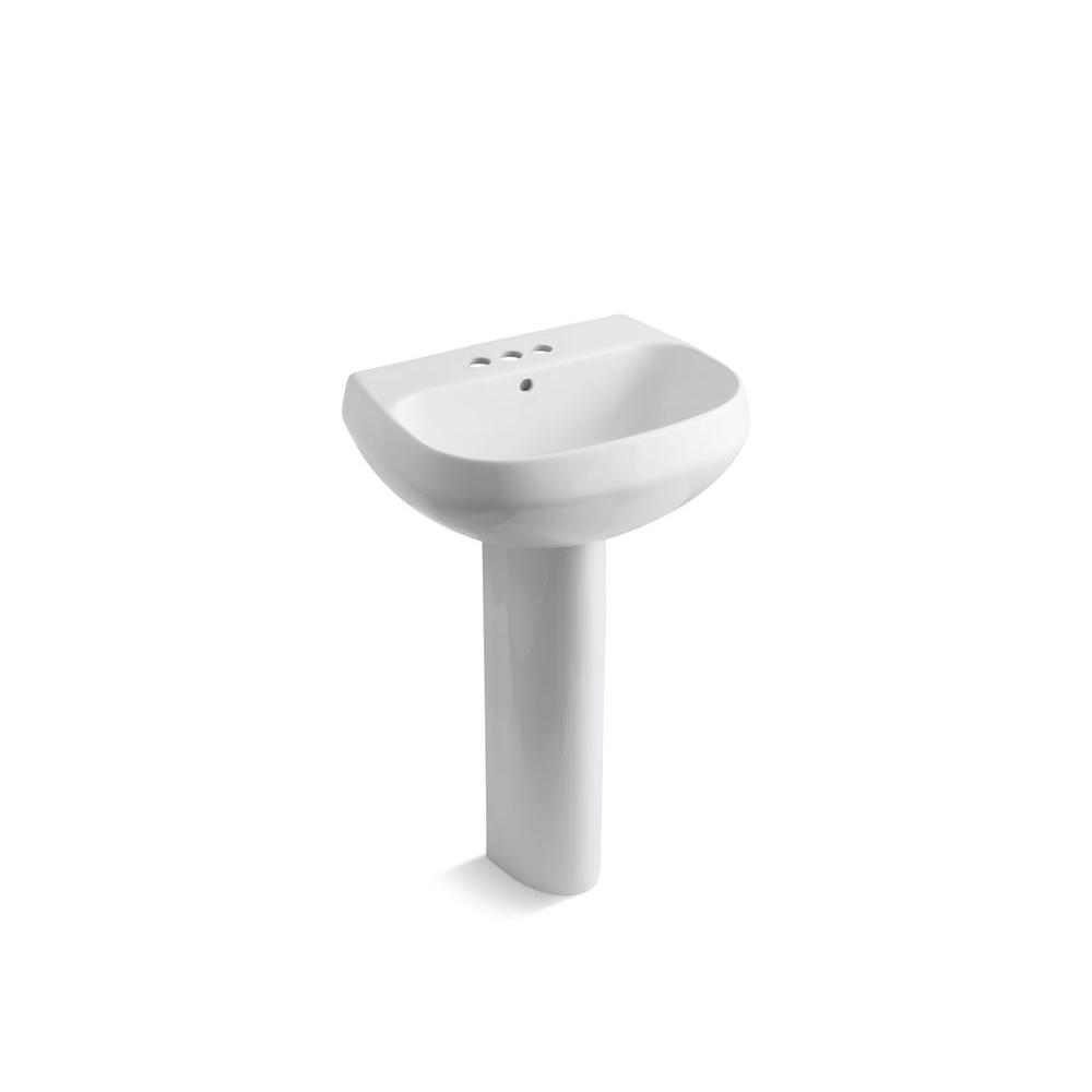 Wellworth Vitreous China Pedestal Combo Bathroom Sink in White with Overflow