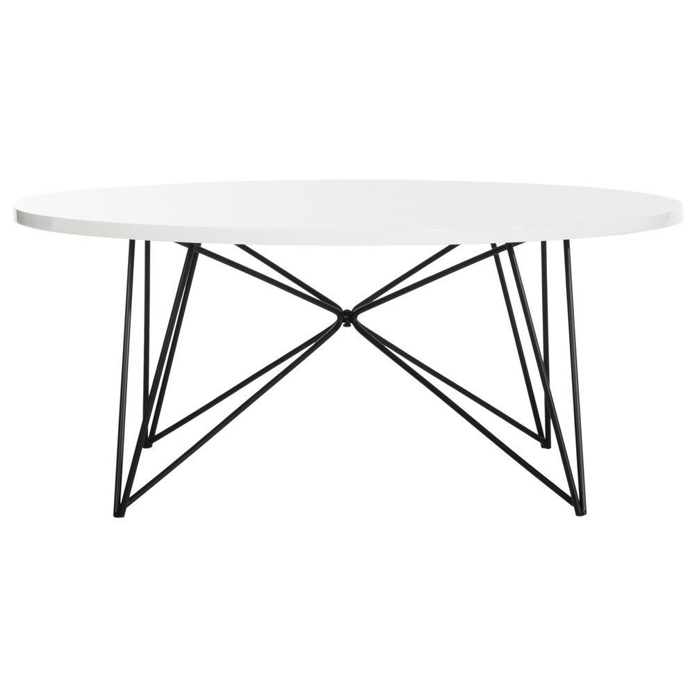 Maris 34 in. White Medium Round Wood Coffee Table
