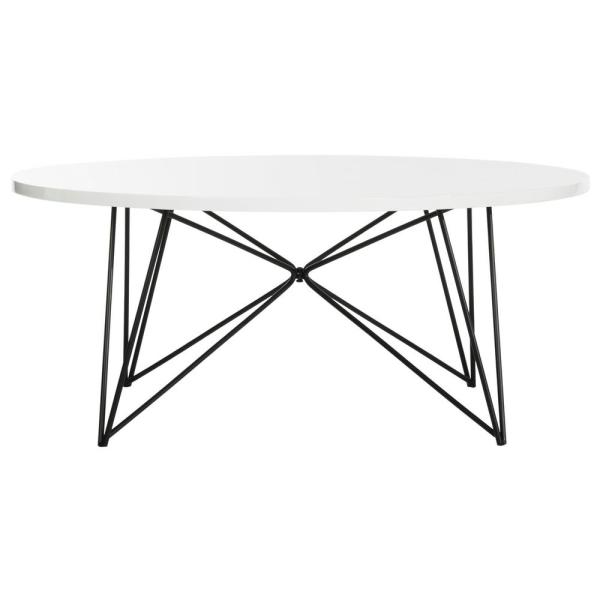 Maris 34 in. White Medium Round Wood Coffee Table