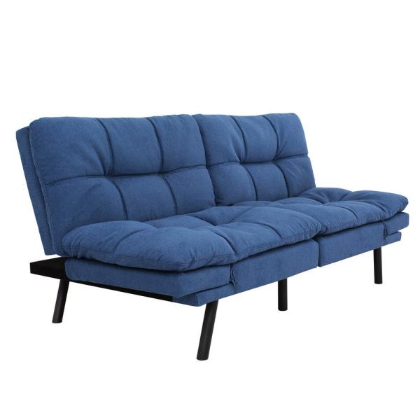 Folding Lounge Couch Blue Sofa Bed